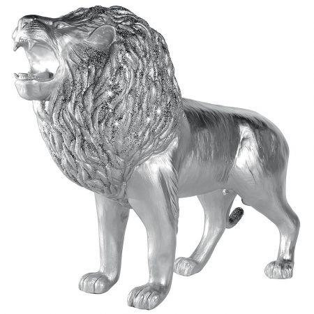 Διακοσμητικό λιοντάρι Ασημί 140x50x113cm