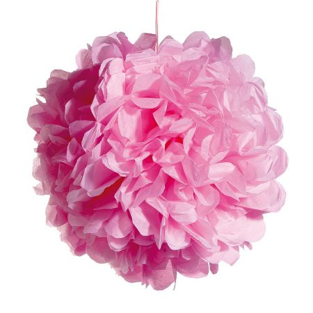 Διακοσμητική κρεμαστή μπάλα - λουλούδι, Ροζ 50cm