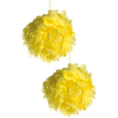 Σετ 2τχ διακοσμητική κρεμαστή μπάλα - λουλούδι Κίτρινο, 30cm