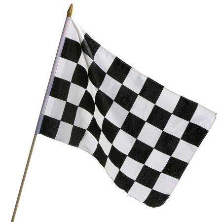 Διακοσμητική υφασμάτινη σημαίαεκκίνησης - τερματισμού (σκακιέρα) πάνω σε ξύλινη ράβδο.