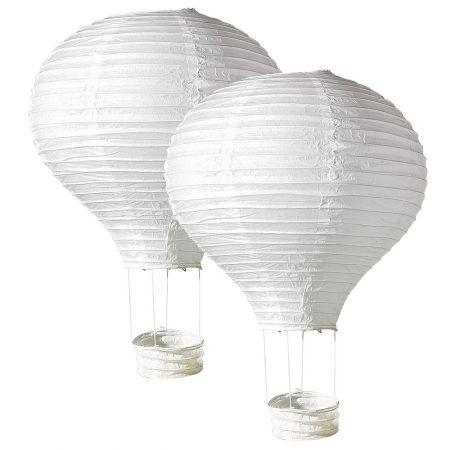 Σετ 2 τεμαχίων διακοσμητικά αερόστατα, λευκά 40x60 cm