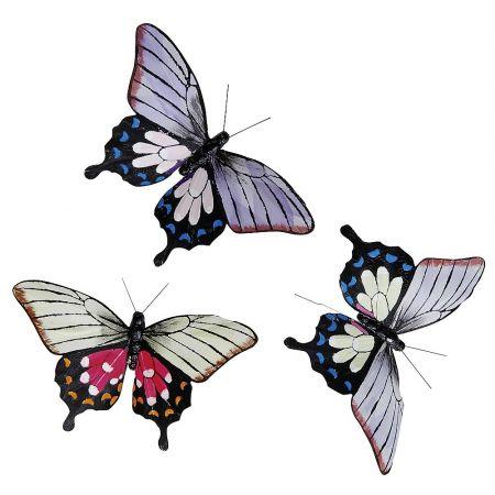 Σετ 3τχ Διακοσμητικές πεταλούδες Μπλε - Λιλά - Ροζ 17 cm