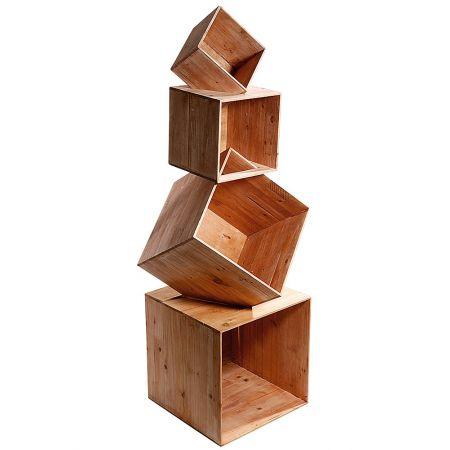 Σετ 4τμχ. Διακοσμητικά Κουτιά-Ράφια Ξύλινα 100cm (Ύψος)