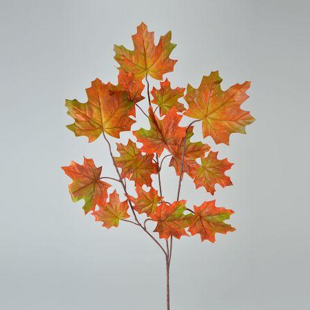Διακοσμητικό κλαδί σφενδάμου Πορτοκαλί - Πράσινο 70cm