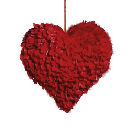 Διακοσμητική καρδιά με φτερά Κόκκινη 40cm