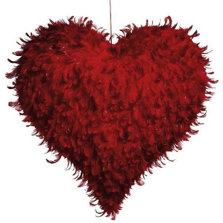 Διακοσμητική καρδιά με φτερά Κόκκινη 60cm