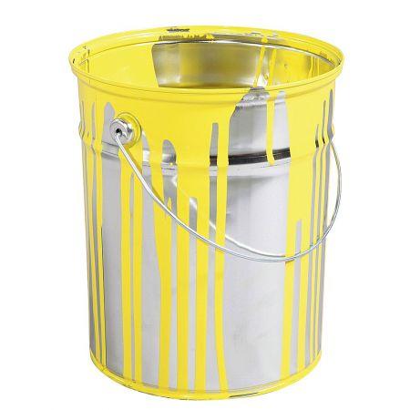 Διακοσμητικός κουβάς με σημάδια μπογιάς Κίτρινη 23x18cm