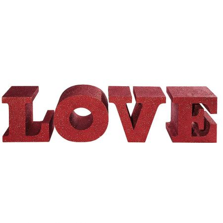 Σετ 4τμχ. Διακοσμητικά γράμματα - LOVE - Κόκκινα με glitter 30x25x25cm