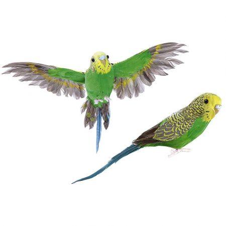 Σετ 2τχ διακοσμητικά παπαγαλάκια Budgie Πράσινα 20cm