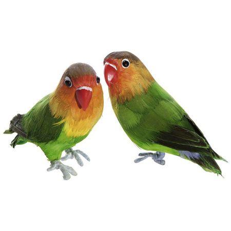 Σετ 2τχ διακοσμητικά παπαγαλάκια, Πράσινα 20cm