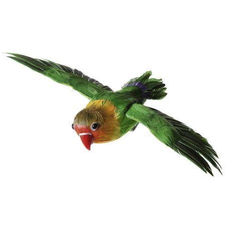 Διακοσμητικό παπαγαλάκι με ανοιγμένα φτερά Πράσινο 20cm