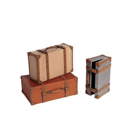 Σετ 3τμχ. Διακοσμητικές Βαλίτσες 59x38x22cm - 53x33x19cm - 45x27x15cm