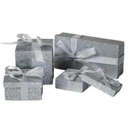 Σετ 5τχ διακοσμητικά κουτιά δώρου σε διάφορες διαστάσεις Ασημί 10-20cm