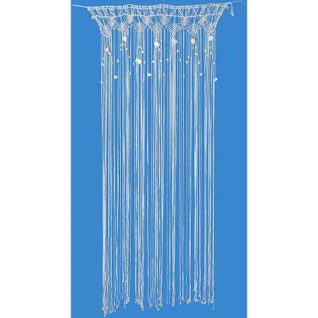 Διακοσμητική κουρτίνα μακραμέ με κοχύλια και πέρλες Λευκή 90x100cm