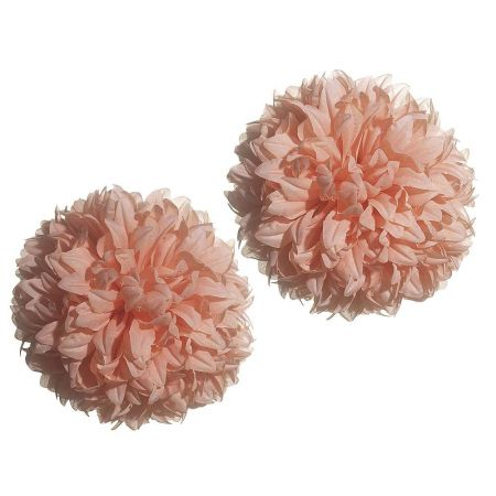 Σετ 2τχ Διακοσμητικές μπάλες - Pom Pom Πορτοκαλί 16cm