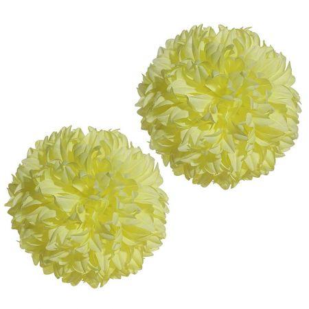 Σετ 2τχ Διακοσμητικές μπάλες - Pom Pom Κίτρινες 16cm
