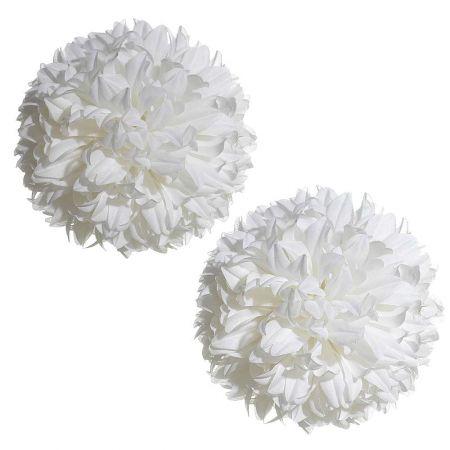 Σετ 2τχ Διακοσμητικές μπάλες - Pom Pom λευκές 16cm