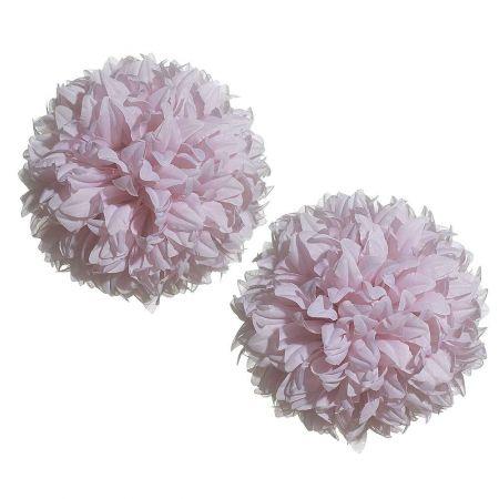 Σετ 2τχ Διακοσμητικές μπάλες - Pom Pom Ροζ 16cm