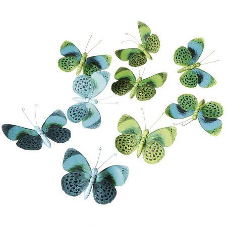 Σετ 9τχ διακοσμητικές πεταλούδες Πράσινες 15cm