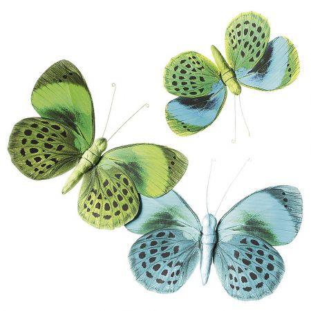 Σετ 3τχ διακοσμητικές πεταλούδες Πράσινες 28cm