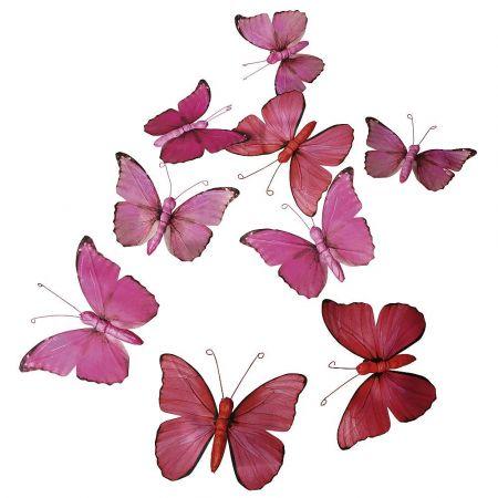 Σετ 9τχ διακοσμητικές πεταλούδες Ροζ 15cm