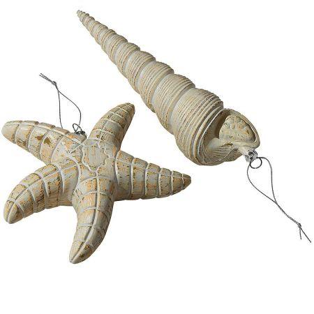 Σετ 2τχ διακοσμητικά κοχύλια Μπεζ 17-23cm