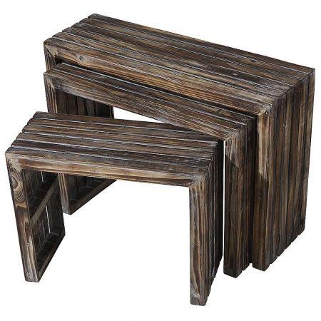 Σετ 3τχ διακοσμητικά τραπεζάκια ξύλινα 45x64x20cm