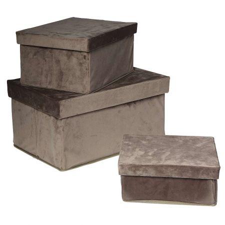 Σετ 3τχ διακοσμητικά βελούδινα κουτιά δώρου Γκρι 47x31x23cm