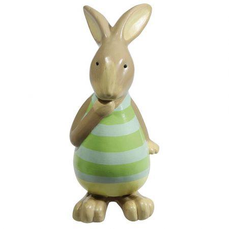 Πασχαλινό λαγουδάκι Γκρι - Πράσινο 39x20cm