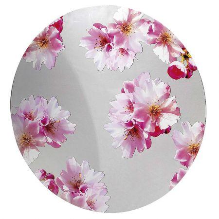 Ακρυλική πινακίδα με άνθη κερασιάς με στρογγυλό σχήμα Καθρέπτης - ροζ 90cm