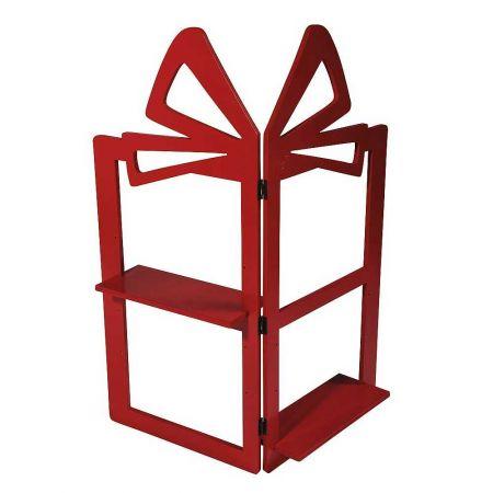 Σταντ σε σχήμα δώρου κόκκινο, 90x80cm