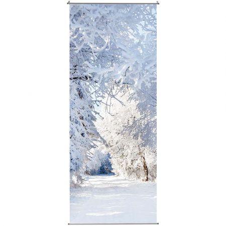 Διακοσμητική χειμωνιάτικη αφίσα με χιονισμένο δάσος 100x200cm