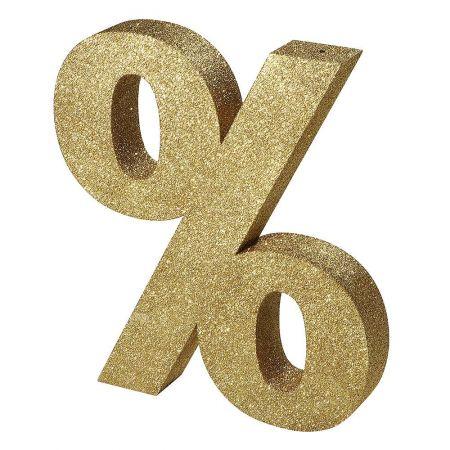 XL Διακοσμητικό σύμβολο % Χρυσό με glitter 50x60cm