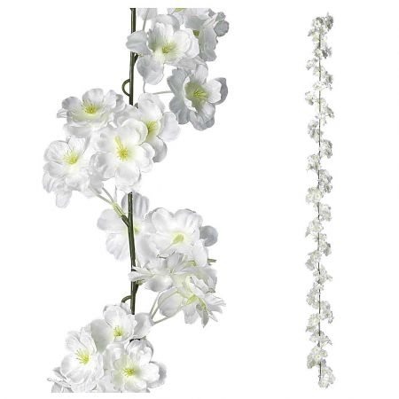 Διακοσμητική γιρλάντα με άνθη κερασιάς Λευκά 180cm