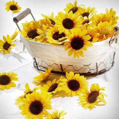 Σετ 24τχ διακοσμητικά άνθη ηλίανθου Κίτρινα 7cm