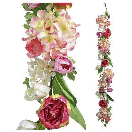 Διακοσμητική γιρλάντα με άνθη Ορτανσίας και Παιώνιας 150cm
