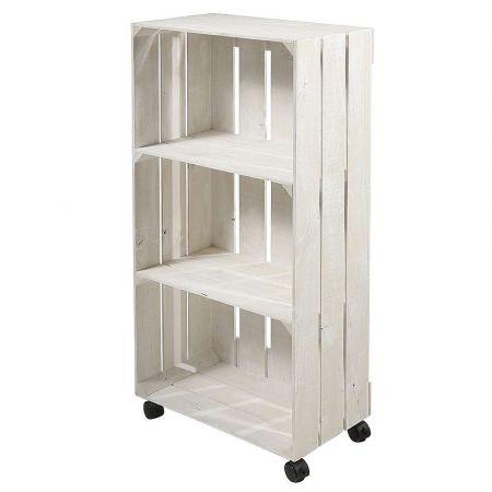 Ξύλινο ντουλάπι - κουτί με ρόδες Λευκό 100x48x27,5cm