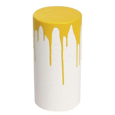 Διακοσμητικό κολονάκι Λευκό - Κίτρινο 40x20cm
