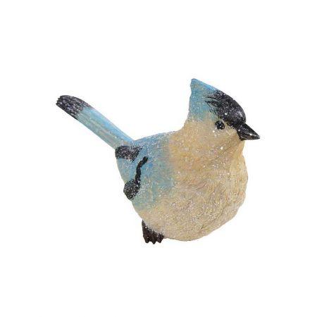 Διακοσμητικό κεραμικό πουλάκι σπίνος Μπλε - Μπεζ 20cm