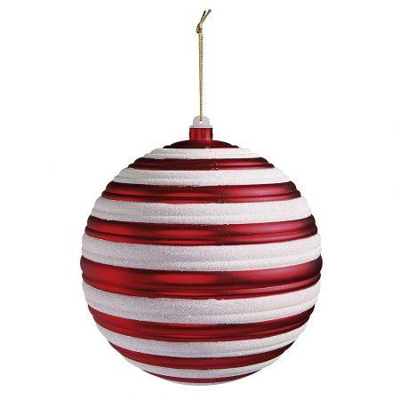 XL Χριστουγεννιάτικη μπάλα ριγέ Κόκκινη - Λευκή 20cm