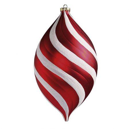 XL Χριστουγεννιάτικο στολίδι δάκρυ ριγέ Κόκκινο - Λευκό 25x15cm