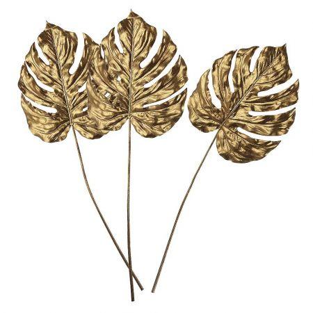 Σετ 3τχ Διακοσμητικά φύλλα Monstera Χρυσά 70cm