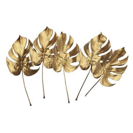 Σετ 5τχ Διακοσμητικά φύλλα Monstera Χρυσά 37cm
