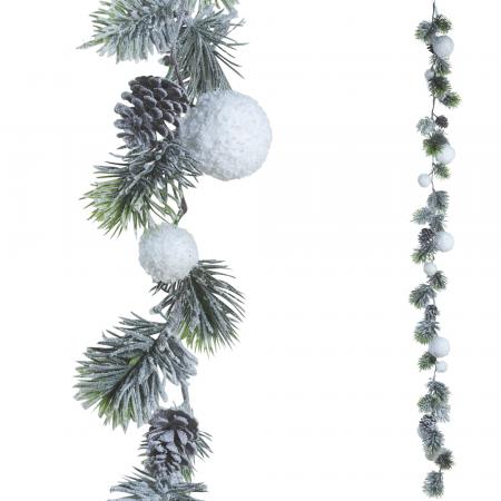 Χιονισμένη γιρλάντα με κλαδιά από έλατο και χιονόμπαλες 150cm