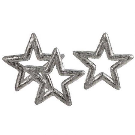 Σετ 3τχ Διακοσμητικά αστέρια Ασημί 15cm