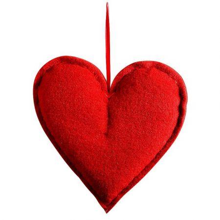 Διακοσμητική καρδιά από τσόχα Κόκκινη 60x52cm