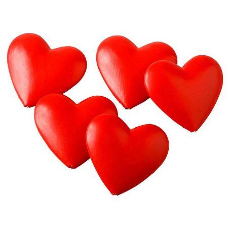 Σετ 6τχ μίνι πλαστικές καρδιές Κόκκινες 12cm