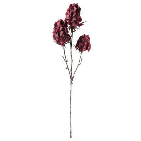 Διακοσμητικό κλαδί με 3 άνθη Σκαμπιόζα Κόκκινα 49cm