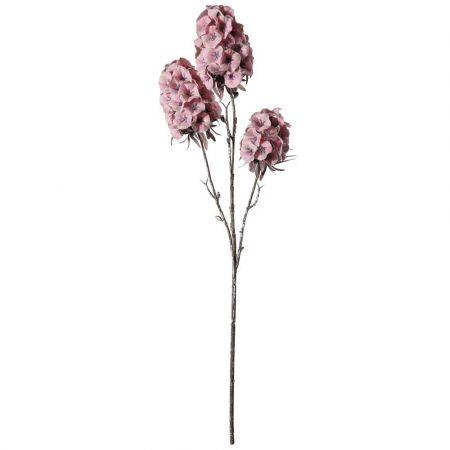 Διακοσμητικό κλαδί με 3 άνθη Σκαμπιόζα Ροζ 49cm