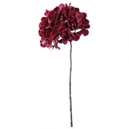 Διακοσμητικό κλαδί με άνθος Ορτανσίας Κόκκινο 49cm
